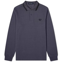 Fred Perry Authentic Long Sleeved Twin Tipped Polo Grey