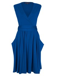 Hotsquash Knee Length Dress With False Belt Cobalt