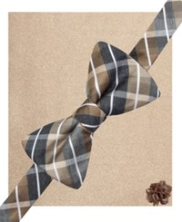 Alfani Spectrum Cooper Plaid Bow Tie Pocket Square And Daisy Lapel Pin Set Taupe