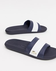 Lacoste Croco Sliders Navy With Gold Croc