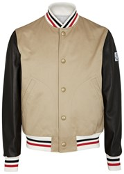 Moncler Gamme Bleu Sand Canvas And Leather Bomber Jacket Beige