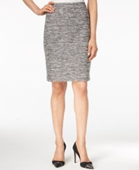 Calvin Klein Tweed Pencil Skirt Black White
