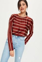 Missguided Burgundy Striped Crew Neck Blouse