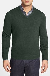 Men's Big And Tall John W. Nordstrom Cashmere V Neck Sweater Green Forest
