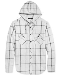 Univibe Men's Plaid Hooded Button Down Sweatshirt Grey