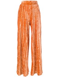 Aviu Pleated Pants Women Polyester Spandex Elastane 42 Yellow Orange