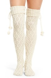 Uggr Women's Ugg Sparkle Cable Knit Socks Cream With Gold
