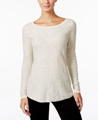 Charter Club Metallic Jacquard Sweater Only At Macy's Vintage Cream Combo