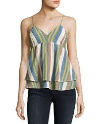 Romeo And Juliet Couture Striped Yarn Dyed Ruffle Tank Multi