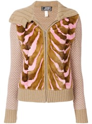 Versace Vintage Knitted Zipped Cardigan Brown
