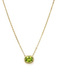 Bloomingdale's Peridot Bezel Pendant Necklace In 14K Yellow Gold 18 Green Gold