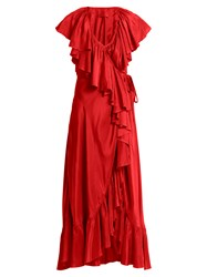 Loup Charmant Callella Ruffled Silk Wrap Dress Red