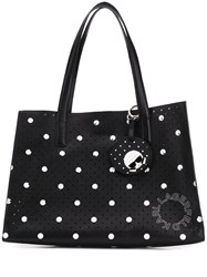 Karl Lagerfeld Dotted Perforated Tote Bag Black