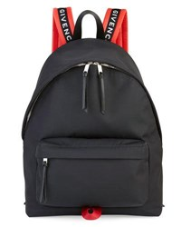 Givenchy Men's Nylon Logo Strap Backpack Black