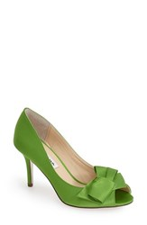 Women's Nina 'Fraser' Satin Peep Toe Pump Apple Green