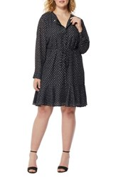 Rebel Wilson X Angels Plus Size Women's Printed Ruffle Hem Dress Mini Polka Dot