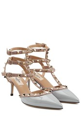 Valentino Rockstud Patent Leather Kitten Heel Pumps Purple