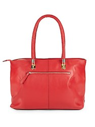 Cole Haan Top Handle Leather Tote Goji Berry