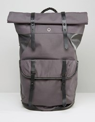 Stighlorgan Ronan Backpack With Roll Top In Canvas With Leather Trim Gray