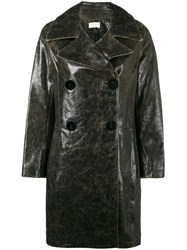 Simon Miller Double Breasted Coat Women Leather 1 Black