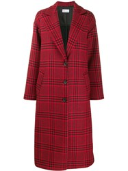 Red Valentino Houndstooth Oversized Coat Red