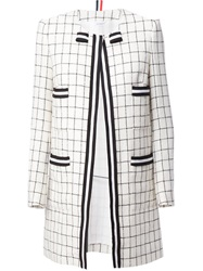 Thom Browne Checked Coat White