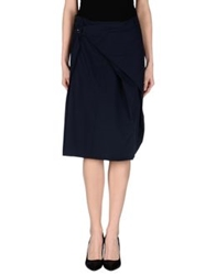 Malloni Knee Length Skirts Dark Blue