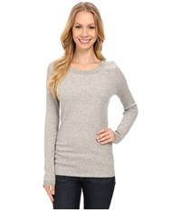 Dylan By True Grit Solid Long Sleeve Tee With Lace Heather Women's T Shirt Gray