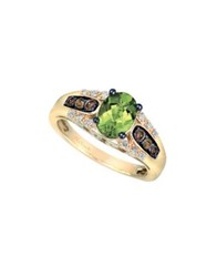 Le Vian Chocolatier Diamond Peridot And 14K Yellow Gold Faceted Solitaire Ring