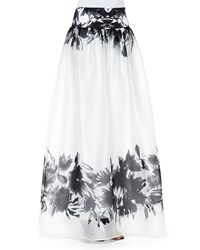 Milly Mirage Border Print Maxi Skirt Black