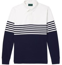J.Crew Kyle Twill Trimmed Striped Cotton Jersey Polo Shirt Navy