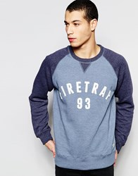Firetrap Contrast Raglan Sleeve Crew Neck Sweater Blue