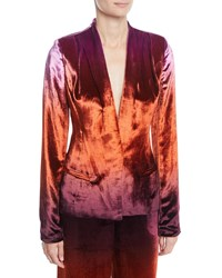 Cushnie Et Ochs Shawl Collar Fitted Degrade Velvet Jacket Brown Pattern