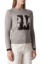 Whistles Badger Intarsia Wool Blend Sweater Multicolour