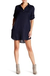 Allen Allen Linen Roll Tab Shirt Dress Petite Blue