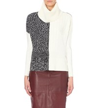 Karen Millen Contrast Panel Wool Blend Turtleneck Jumper Grey