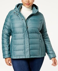 32 Degrees Plus Size Packable Puffer Coat Mineral Green