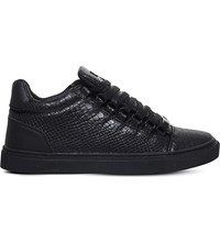 Kg By Kurt Geiger Malone Reptile Embossed Trainers Black