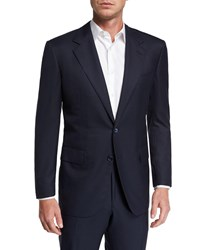 Stefano Ricci Solid Cashmere Silk Two Piece Suit Navy
