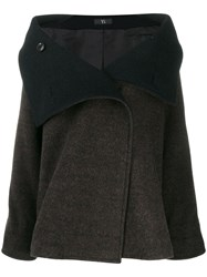 Y's Open Collar Coat Brown