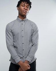 Selected Homme Long Sleeve Slim Fit Shirt In Gingham Check Button Down Collar Blue Nights Navy