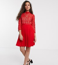 Little Mistress Petite Mini Length 3 4 Sleeve Lace Dress In Tomato Red