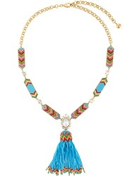 Shourouk 'Chevron' Beaded Tassle Necklace Blue