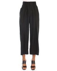 Donna Karan Cropped Pleated Canvas Pants