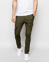 Asos Super Skinny Trousers With Zip Cargo Pockets In Khaki