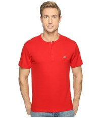 Lacoste Double Face Cotton Henley Red Men's Clothing