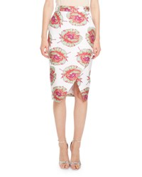 Altuzarra Wilcox Floral Print Pencil Skirt White Pattern