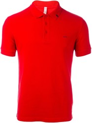 Sun 68 Distressed Polo Shirt Red