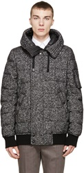 Dolce And Gabbana Black And Grey Wool Down Jacket