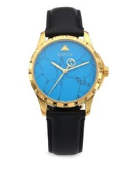 Gucci Le Marche Des Merveilles Synthetic Turquoise Goldtone Pvd And Leather Strap Watch Blue